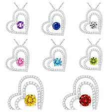 Double Heart Necklace Pendant w/ Cubic Zirconia Swarovski Crystals Wife Mom Love