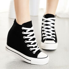 Womens Csual Hidden Wedge Canvas High-Top Lace Up Platform Sport Sneakers Shoes