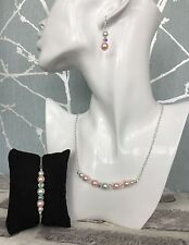 Silver Plated Pink and White Glass Pearl Necklace, Bracelet and Earring set