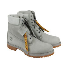 """Timberland 6"""" Premium Boot Mens White Nubuck Casual Dress Boots Shoes"""