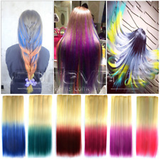 Long Straight Hair Piece 2 Colour Gradient Ombre Dip Dye Clip In Extensions New