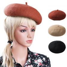 Women Ladies Classic Wool Blended Winter Warm French Fluffy Beanie Beret Hat Cap
