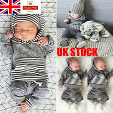 UK Newborn Baby Boy Grey Playsuit Striped Hoodie Comfy Pants Trousers Outfits