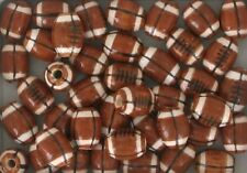 Hand Painted Ceramic Sports Beads, Football Design, Choice of Size & Qty.