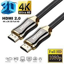 PREMIUM BRAIDED HDMI Cable V2.0 3ft,5ft,6ft,10ft,33ft 3D TV 2160p 4K ARC HD Gold