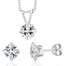 Sterling Silver Princess-cut April Cubic Zirconia Birthstone Stud Earrings and