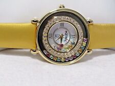 VICTORIA WIECK ROUND FLOATING CRYSTAL DIAL WATCH YELLOW