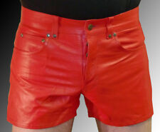 leather shorts blue new pants red  LEATHER LINING Lederhose rot kurz Cuir