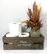 Rustic Handmade Wood Bathroom Caddy Toilet Tissue Box Holder Toilet Paper Crate
