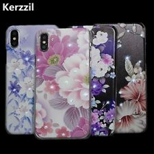Kerzzil iPhone X Case Bling Rhinestone Flowers Phone Hard PC Half-wrapped Cover