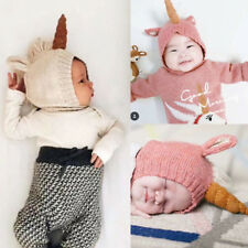 Unicorn Beanie Hat Baby Girl Toddler Crochet Knit Winter Warm Earflap Cap