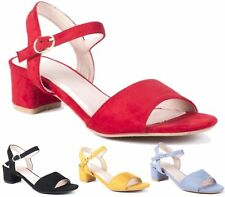 New Ladies Block Low Heel Summer Ankle Slingback Faux Suede Sandals Shoes Size