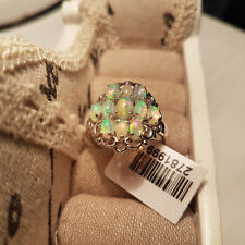 Stunning Ethiopian Welo Opal Cluster Ring in Platinum Over Sterling Silver