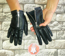 WOMEN'S BLACK REAL SOFT GOATSKIN LEATHER DRIVING GLOVES SIZE