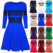 New Womens Ladies Lace Mesh Flared Franki Short Mini Skater Dress Top Plus Size