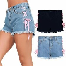 Womens Raw Edges Side Lace Up Faded Ladies Jeans Denim Eyelet Hot Pants Shorts