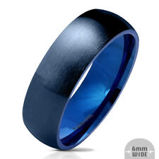 316L Stainless Steel Blue IP 6mm Matte Finish Comfort Fit Band Ring, Sizes 5-13