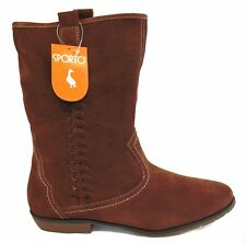 New Sporto BRIDGET Womens Suede Leather Cowboy Boots 9.5 & 10 Chestnut MSRP $75