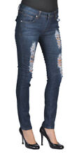 Women's Stretch Denim Ripped Skinny Rhinestone Back Pocket Dark Wash Jeans