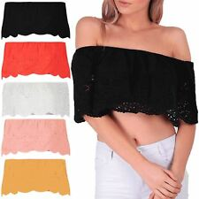 Womens Ladies Off Shoulder Lace Frill Bralet Floral Crochet Bardot Cropped Top