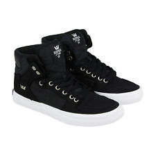 Supra Vaider Mens Black Textile High Top Lace Up Sneakers Shoes