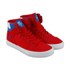 Supra Vaider D Mens Red Canvas High Top Lace Up Sneakers Shoes
