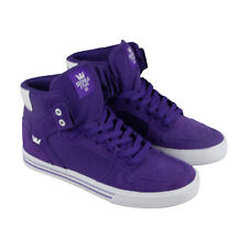 Supra Vaider Mens Purple Canvas & Suede High Top Lace Up Sneakers Shoes