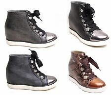 Womens Sneakers Buckle Shoes Ankle Boots Snake Skin Plimsolls Trainers High Tops