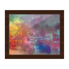 'Splash Shoreline Splatter' Framed Canvas Wall Art