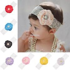 Multi-color Baby Girl Lace Imitate Pearl Flower Head Band Hair EFFU