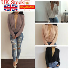 UK Women Deep V Neck Blouse Long Sleeve Chiffon Pullover Warp T Shirt Loose Tops