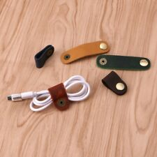 Faux Leather Cable Cord Organizer Clip Wrap Bobbin Earphone Wire Winder Tool