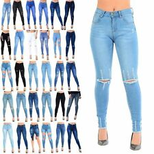 Womens Denim Jeans Skinny Ripped Hem Slim Fitted Ladies Whiskers Frayed Trousers