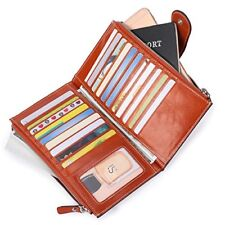 RFID Blocking Wallet Wax Real Leather Zip Clutch Large Credit Card Organizer