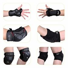 JBM BMX Bike Knee Pads and Elbow Pads with Wrist Guards Protective Gear Set
