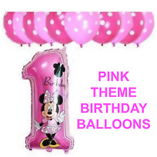 Disney Mickey/Minnie Mouse Number Foil Balloon Pink/Blue 1st Birthday Baloon