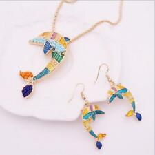 New Women Gold Plated Enamel Jewelry Sets Necklace Earring Set Ethnic Dolphin