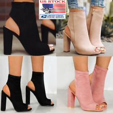 US Women Block High Heels Pumps Plain Peep Toe Side Zip Up Boot Ankle Shoes Size