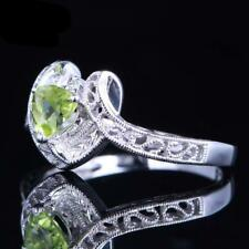 Engagement rings with diamond, 100% Genuine Peridot & White Gold/925 Sterling Si