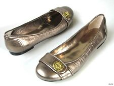 new MARC JACOBS pewter metallic TURNLOCK LOGO flats shoes  - SUPER comfy