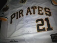 Cooperstown Pittsburgh Pirates #21 Roberto Clemente Dual Patch Stitched Jersey