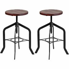 Nostalgic Rustic Design Swivel Adjustable Counter-height Stools