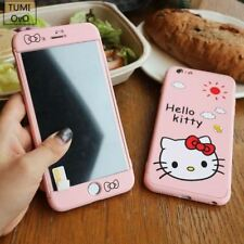 iPhone 7 6 3in1 Full Body Cover Protect Glass Case Cartoon Hello Kitty Hard PC