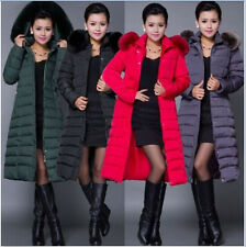 Plus Size Womens Duck Down Hooded Coat Fur Parka Jacket Lady Long Outerwear New