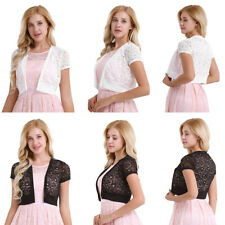 Fashion Womens Short Sleeve Lace Hollow Out Bolero Shrug Open Front Cardigan Top