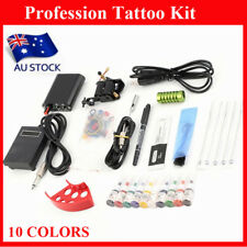 Complete Tattoo Kit Machine Gun Power Supply 10 Color Ink Set Needles EC