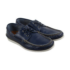 Frye Briggs Boat Shoe Mens Blue Leather Casual Dress Lace Up Boat Shoes Shoes