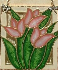 Artisan Stained Glass Pink & Green Tulips Floral Art Panel Flower Wall Hanging