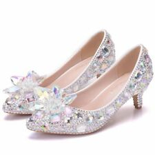 Gorgeous Women Crystal Wedding Shoes Luxurious Bridal Shoes Low Heels  6 7 8 9+