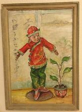 Antique Still Life China Doll Painting Listed Signed V C Hoyt b.1880 Wisc. Frame